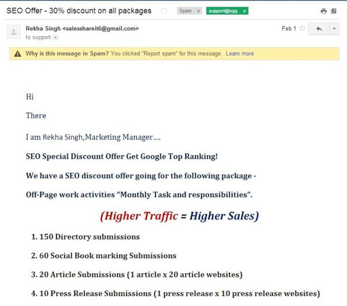 Why these SEO Emails should go straight to spam- Part 1 – the pitch