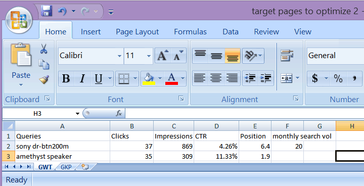 pages to optimize excel