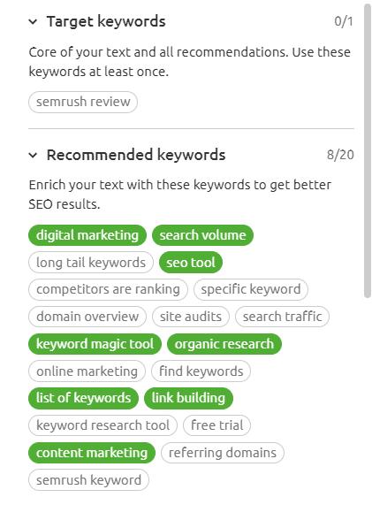 Seo Content Template Keywords